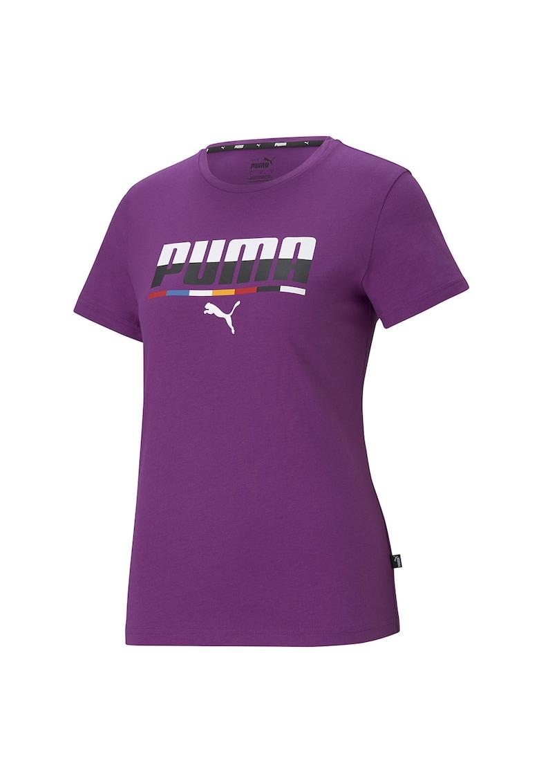 Tricou cu imprimeu logo si decolteu la baza gatului