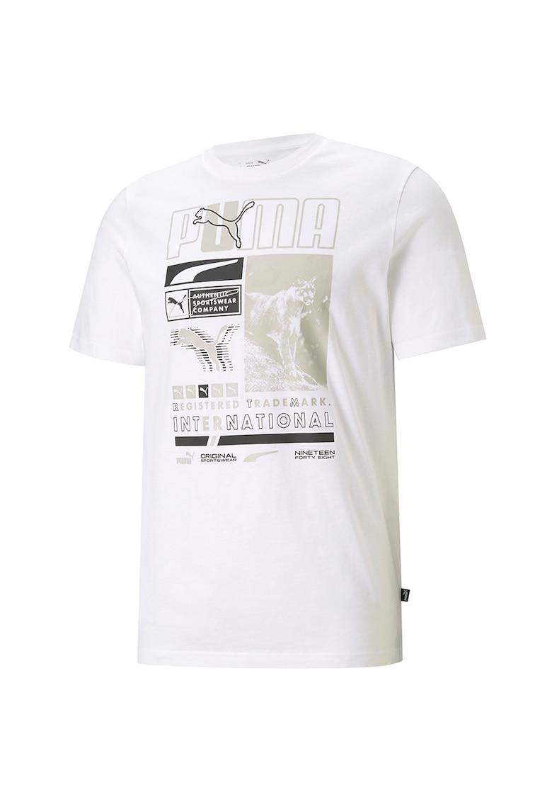 Tricou cu decolteu la baza gatului si imprimeu Bărbați imagine