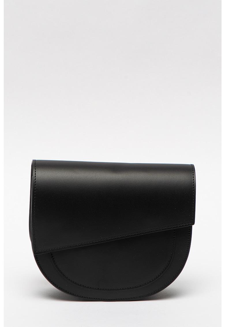 Geanta de piele cu bareta si accesoriu logo