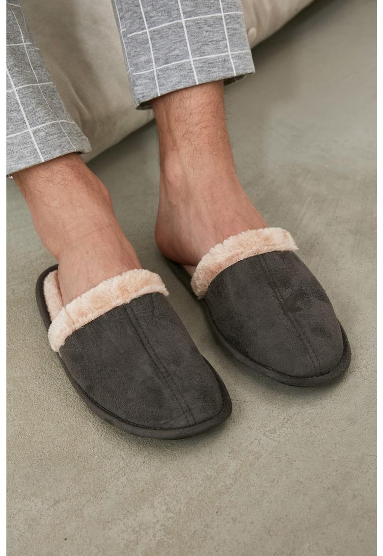 Papuci de casa cu captuseala teddy imagine