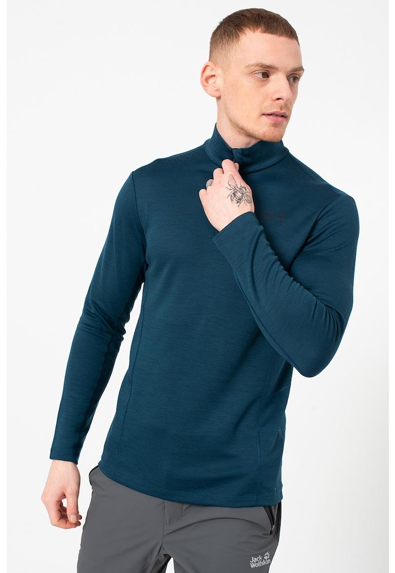 Bluza slim fit din amestec de lana cu fenta cu fermoar - pentru antrenament Arctic imagine fashiondays.ro Jack Wolfskin