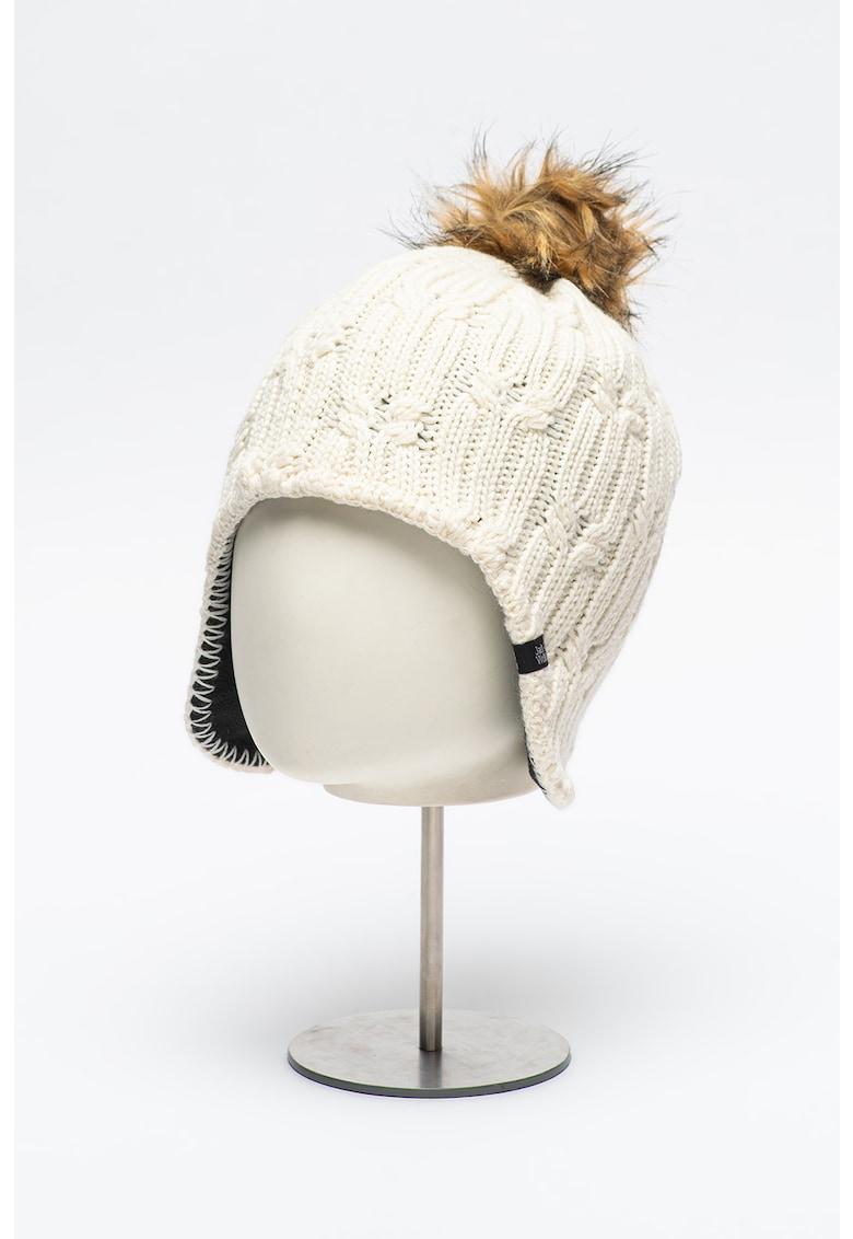 Caciula trapper din amestec de lana cu model torsade si ciucure din blana sintetica Stormlock imagine fashiondays.ro Jack Wolfskin
