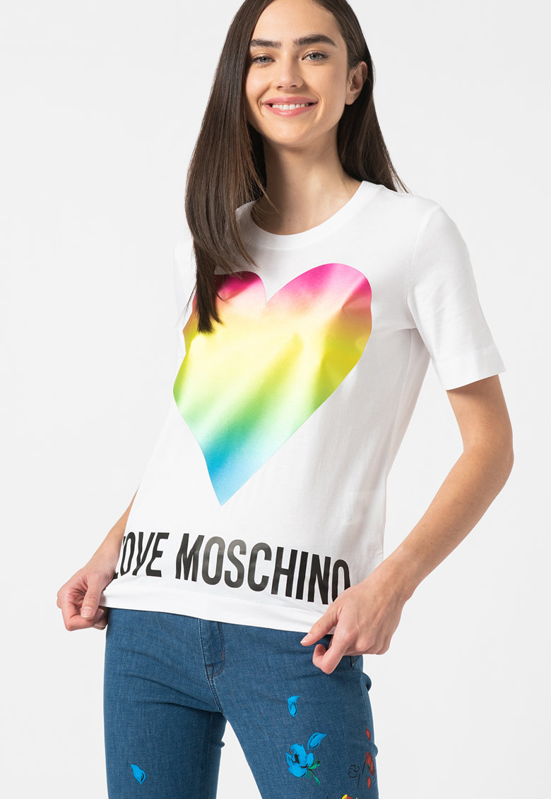 Tricou cu imprimeu grafic si logo Love Moschino fashiondays.ro