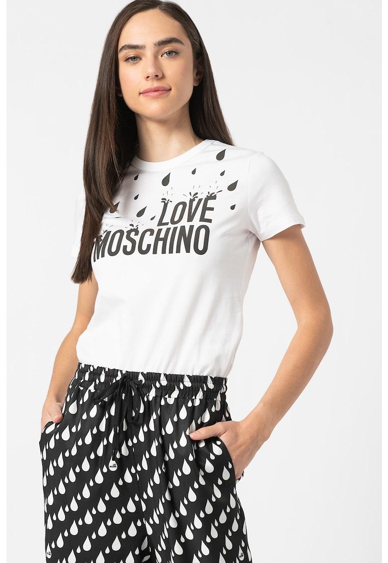 Tricou cu decolteu la baza gatului si imprimeu logo Love Moschino fashiondays.ro