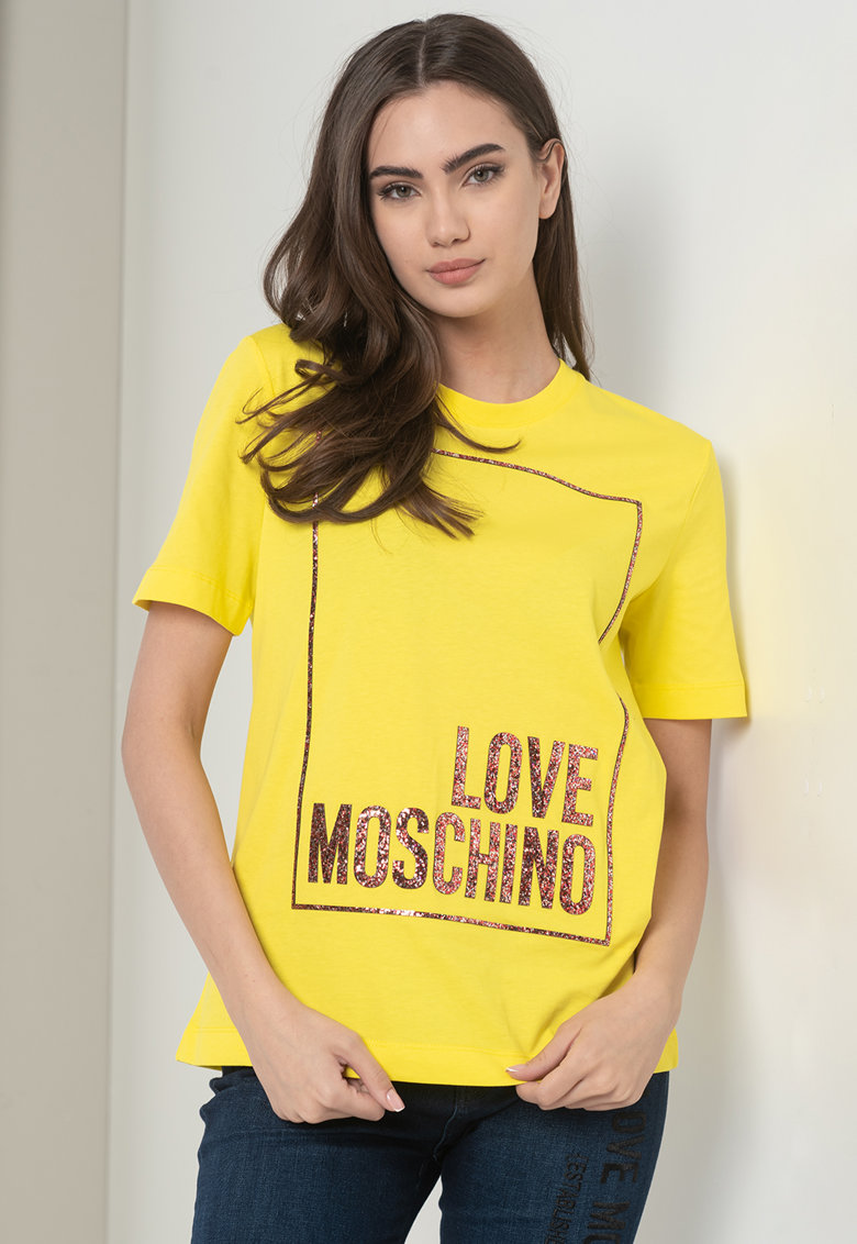 Tricou cu decolteu la baza gatului si imprimeu stralucitor Love Moschino fashiondays.ro