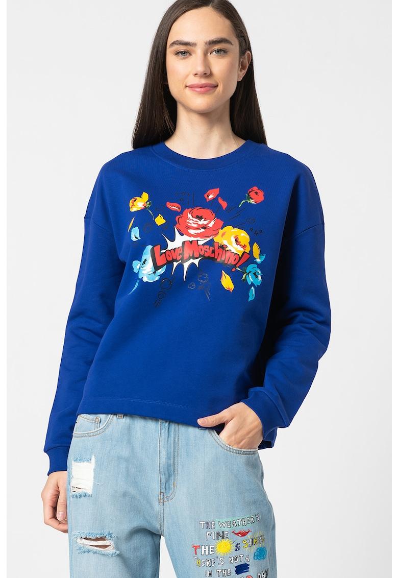 Bluza sport cu maneci cazute Love Moschino fashiondays.ro