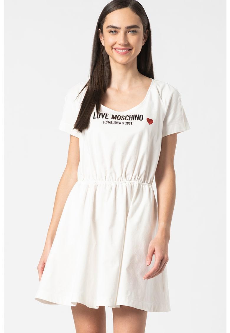 Rochie evazata cu imprimeu logo Love Moschino fashiondays.ro