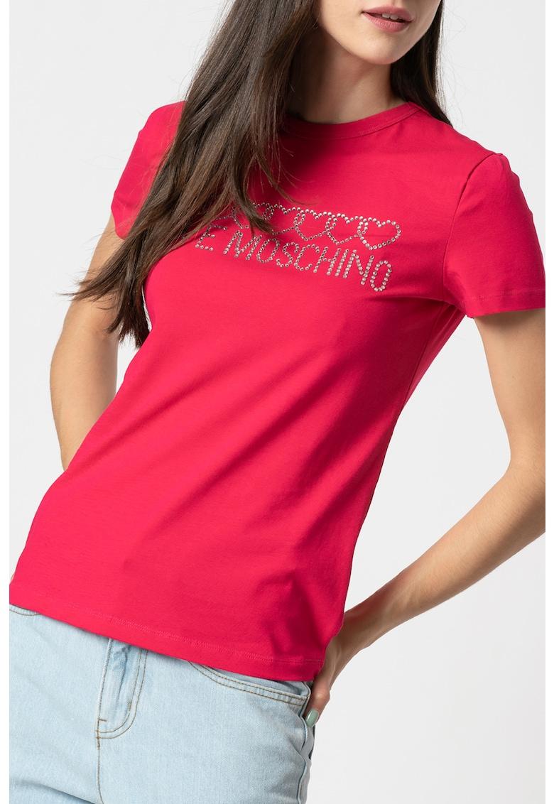 Tricou cu decolteu la baza gatului si logo cu strasuri