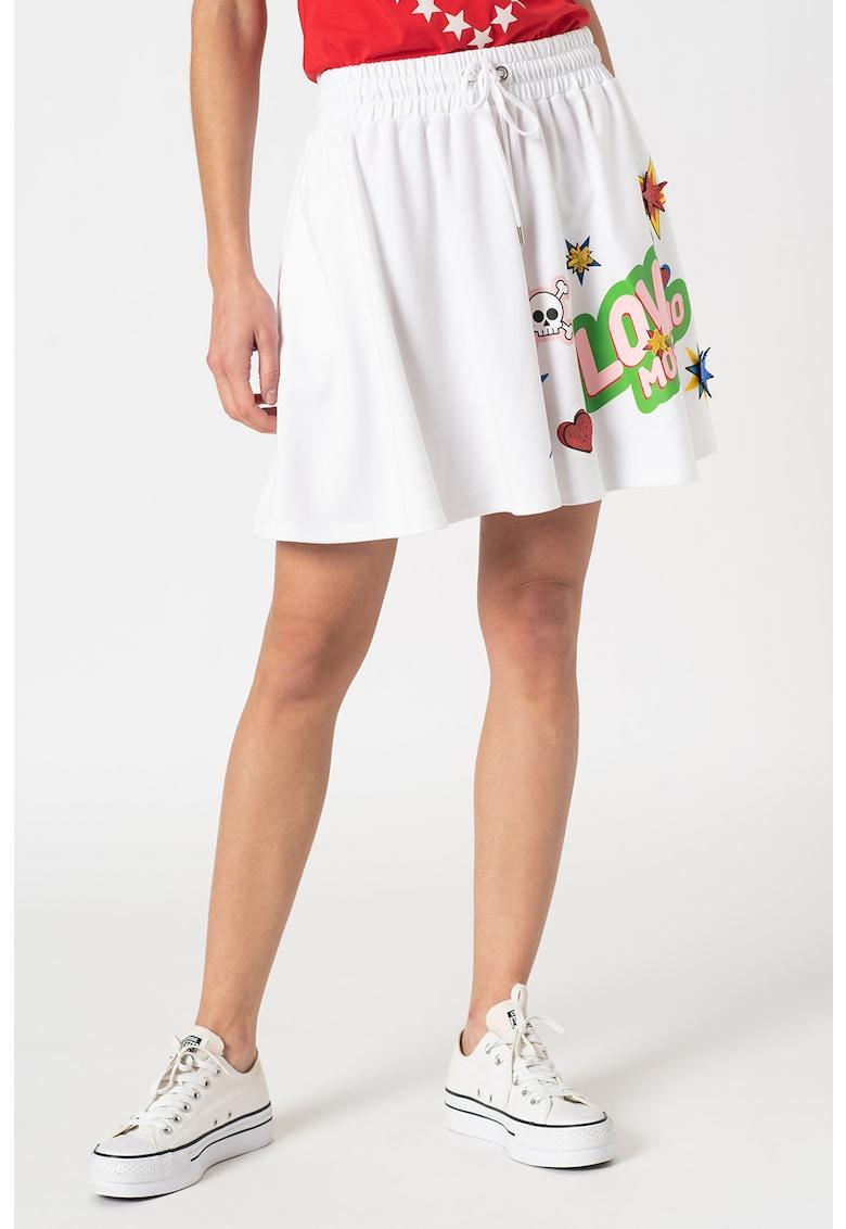 Fusta mini evazata cu imprimeu logo poza fashiondays