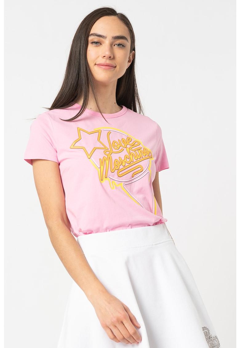 Tricou cu decolteu la baza gatului si imprimeu