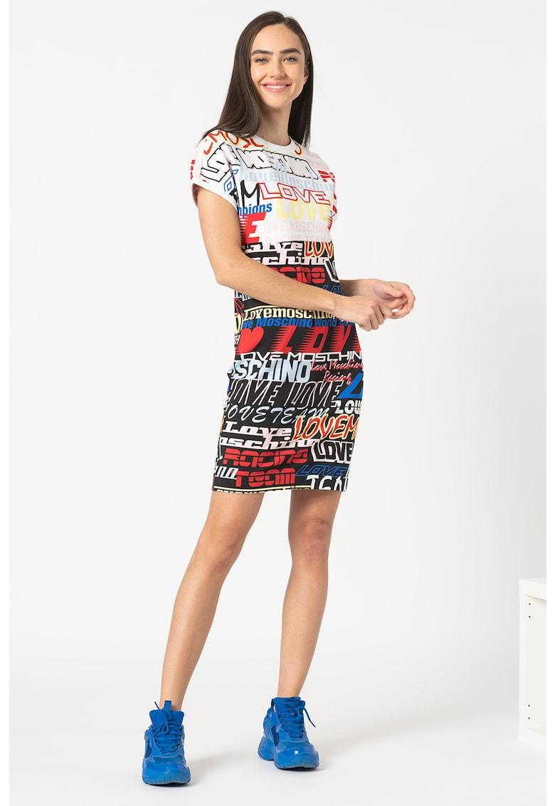 Rochie mini tip tricou cu model grafic&logo