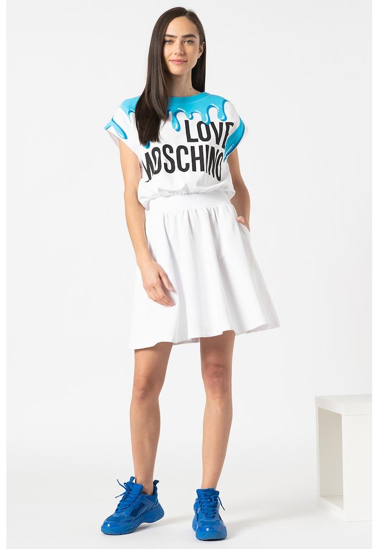 Love Moschino Rochie combi cu imprimeu logo supradimensionat
