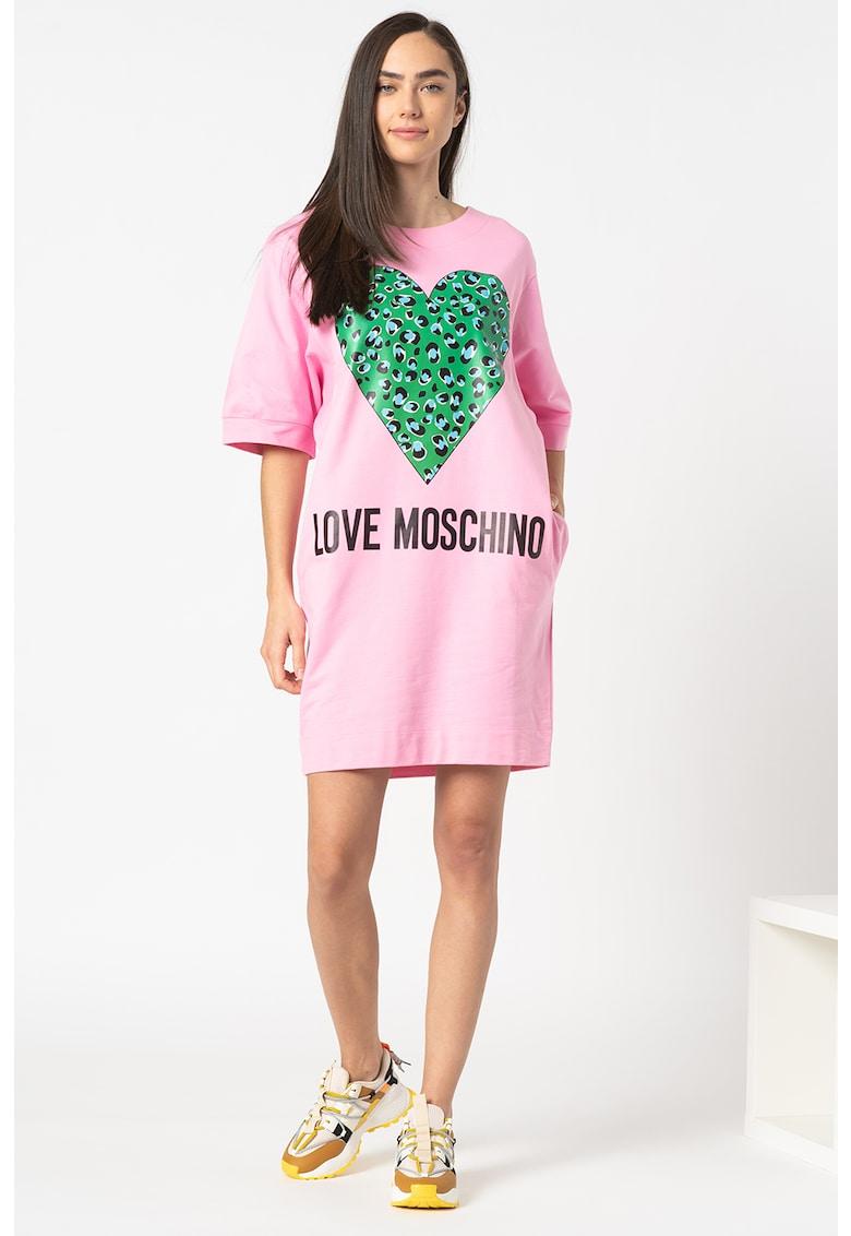 Rochie tip tricou cu imprimeu supradimensionat