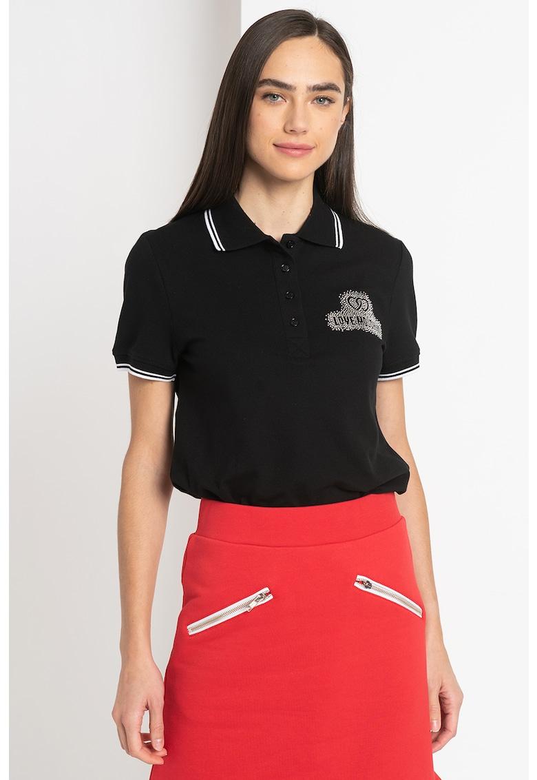 Tricou polo din material pique cu logo din strasuri Love Moschino fashiondays.ro