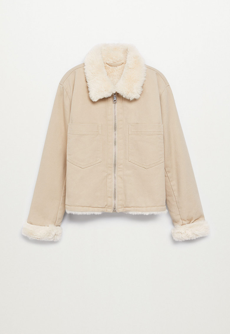 Jacheta din denim cu captuseala din material teddy Sky