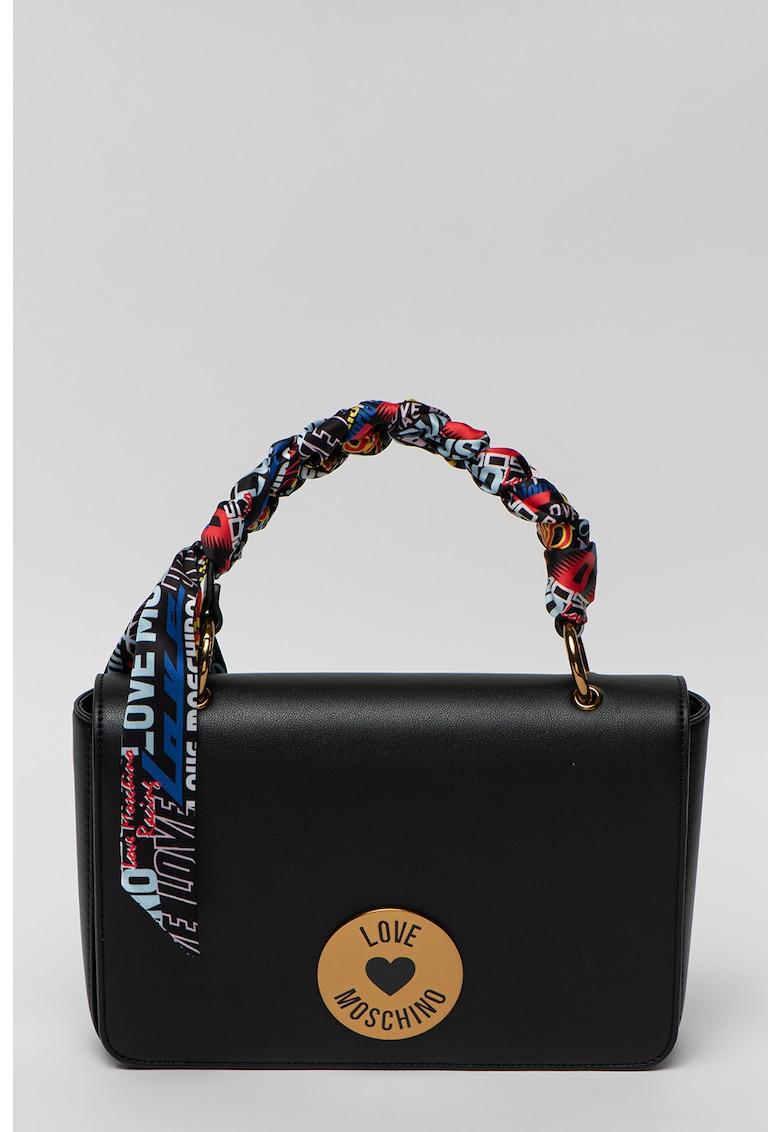 Geanta de piele ecologica cu maner si esarfa decorativa impletita Love Moschino fashiondays.ro