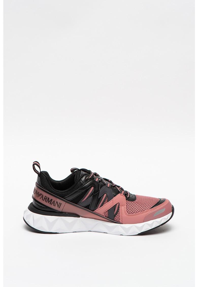 Pantofi sport din piele ecologica si plasa