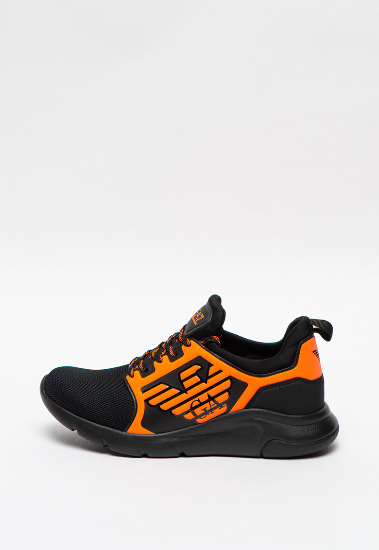 Pantofi sport unisex cu talpa wedge si aplicatie logo