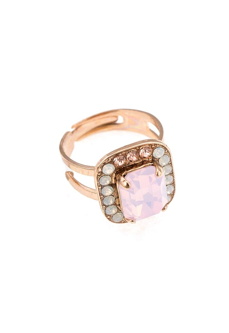 Inel placat cu aur rose de 24K si decorat cu cristale Swarovski