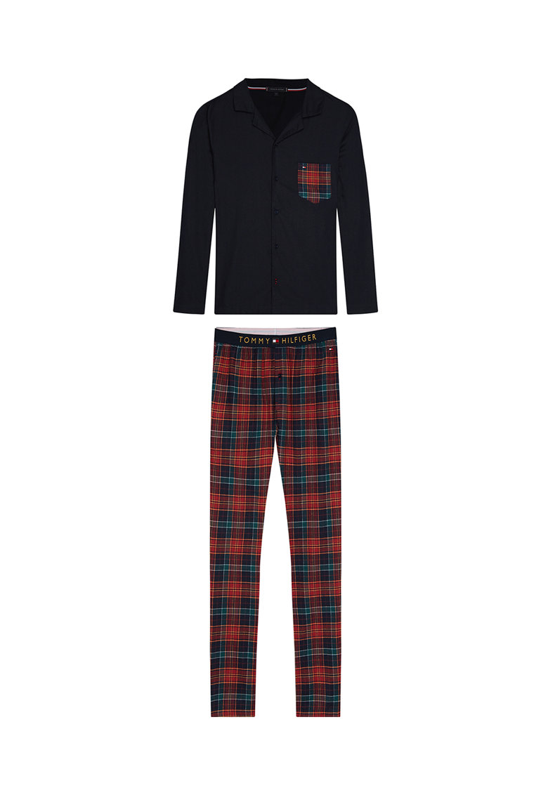 Pijama din bumbac organic cu buzunar pe piept poza fashiondays