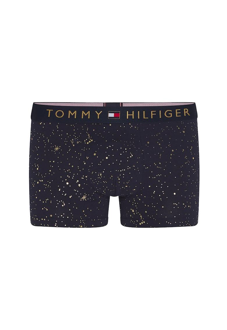 Boxeri cu banda cu logo in talie si model stralucitor imagine