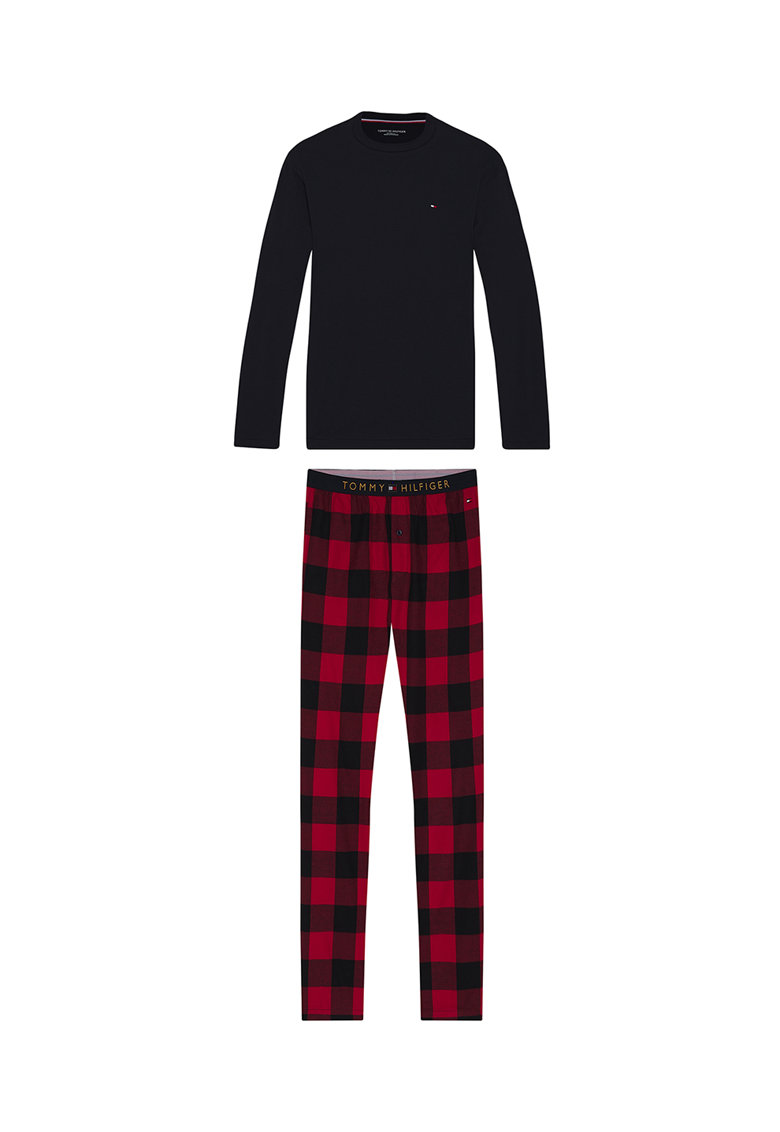 Pijama din bumbac organic cu pantaloni cu imprimeu