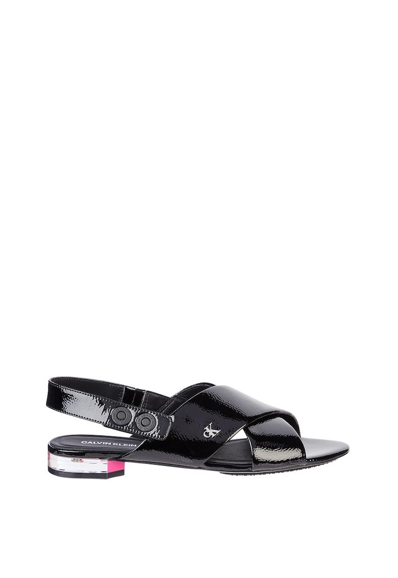 Sandale slingback din piele ecologica cu aspect lacuit imagine
