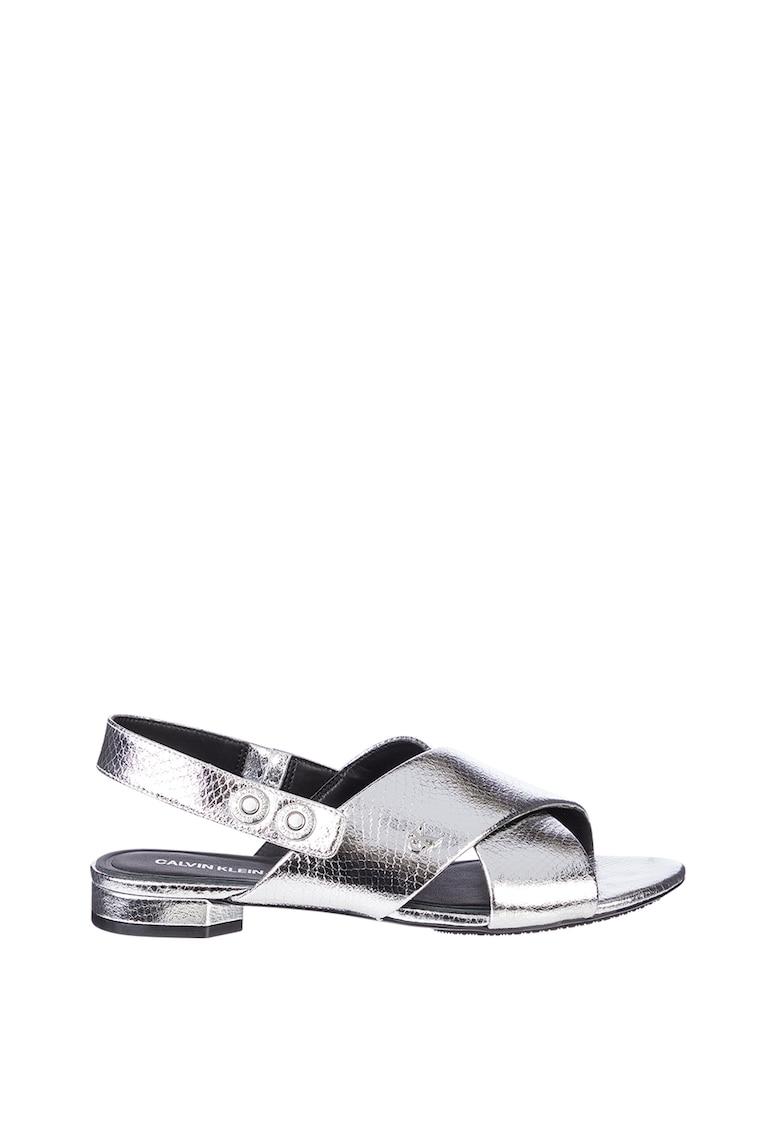 Sandale din piele ecologica cu aspect metalizat imagine