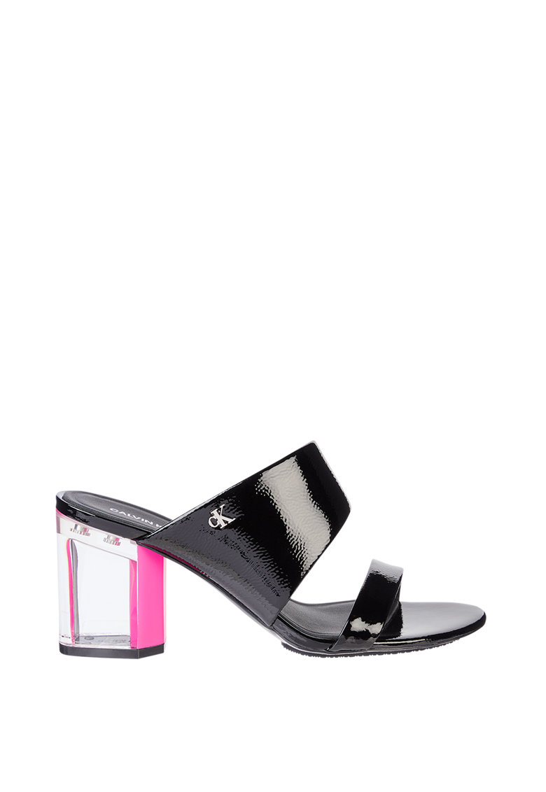 Papuci din piele ecologica cu toc si aspect lacuit imagine