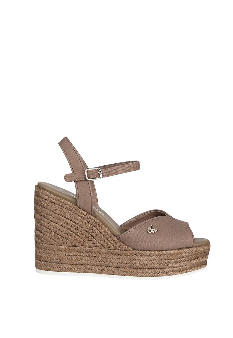 Sandale tip espadrile wedge cu garnituri de piele ecologica
