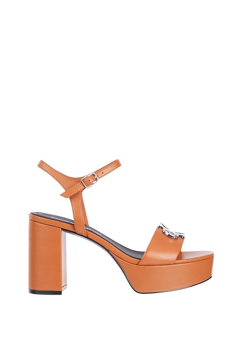 Sandale din piele cu toc masiv imagine