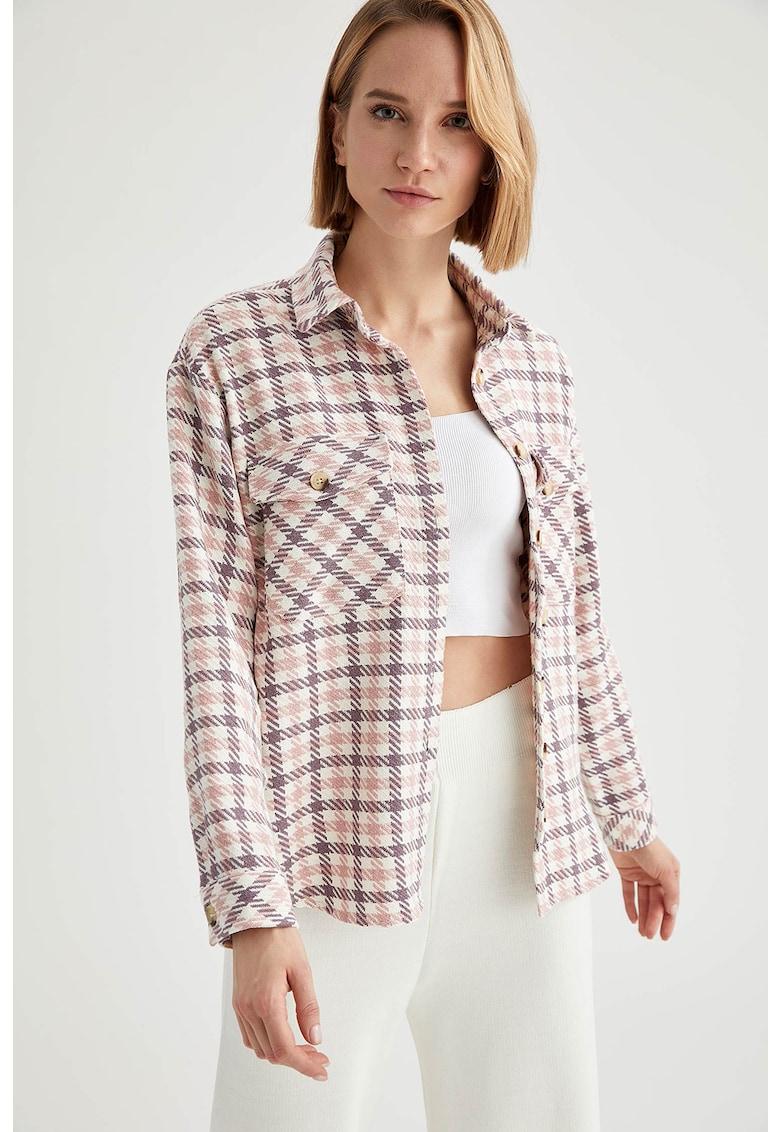 Jacheta tip camasa cu model in carouri si buzunare aplicate