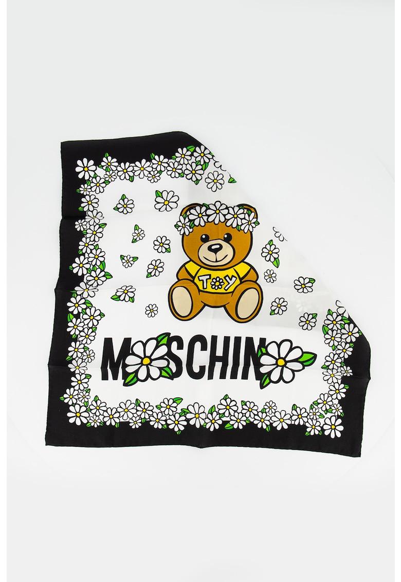 Moschino Esarfa de matase cu imprimeu logo si floral