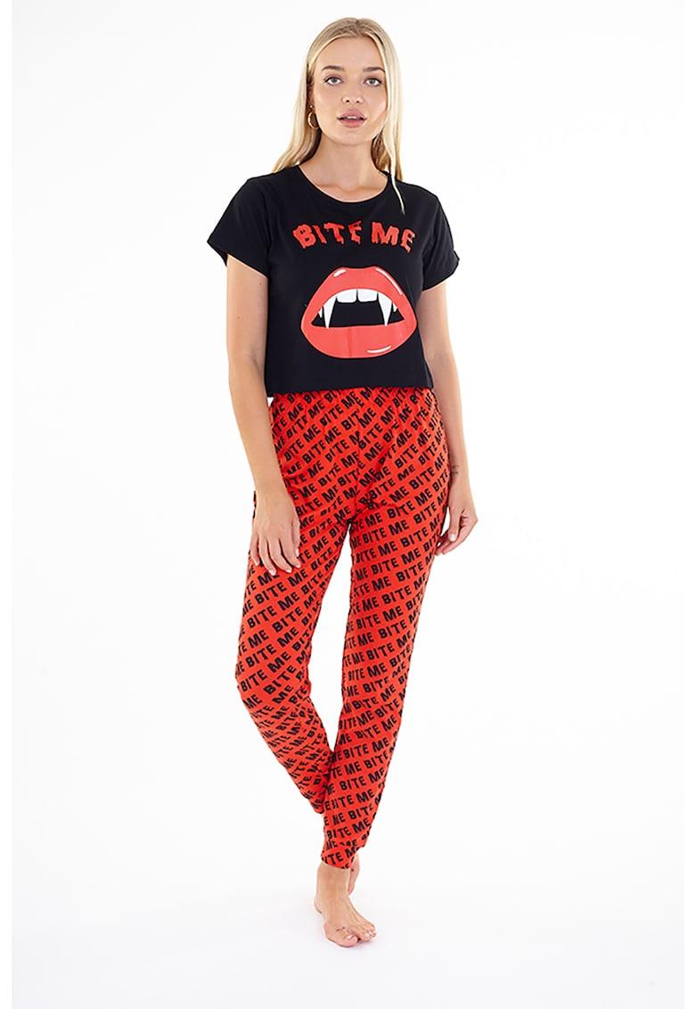 Pijama cu model grafic Biteme