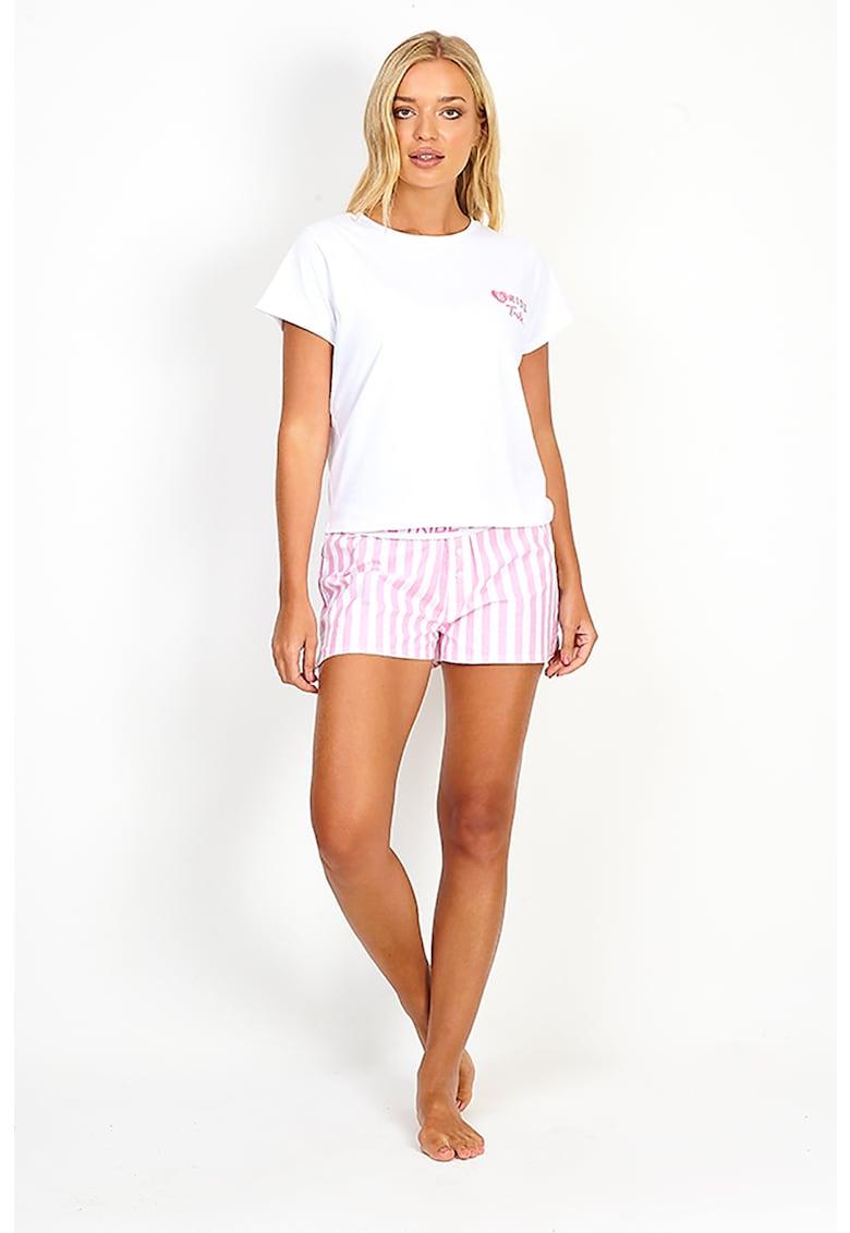 Pijama de bumbac cu pantaloni scurti Bride imagine fashiondays.ro 2021