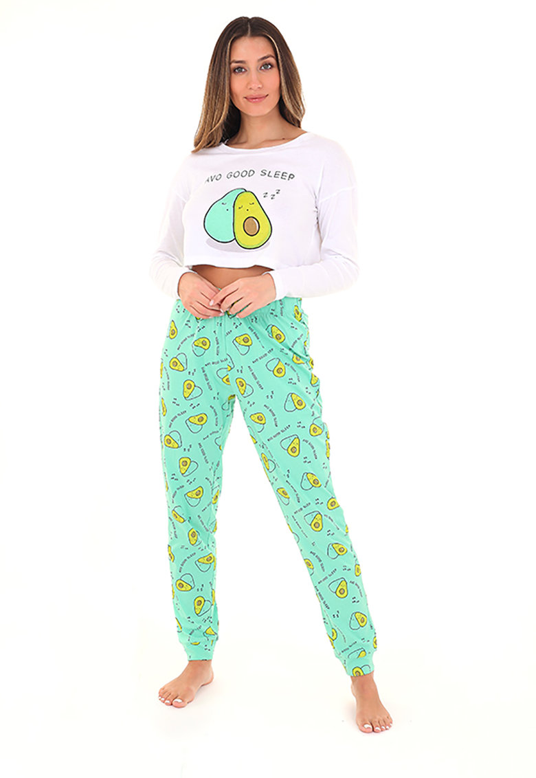 Pijama de bumbac cu pantaloni lungi Avogood poza fashiondays
