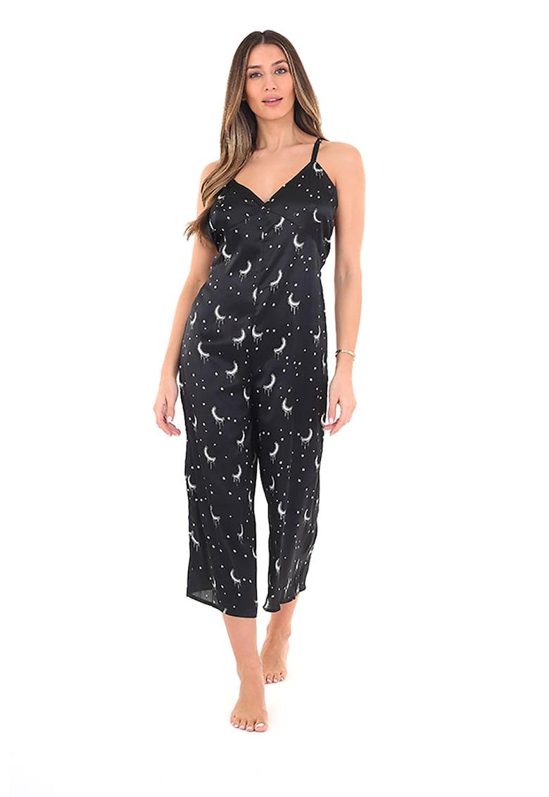 Salopeta de pijama din satin cu imprimeu cu luna Shine