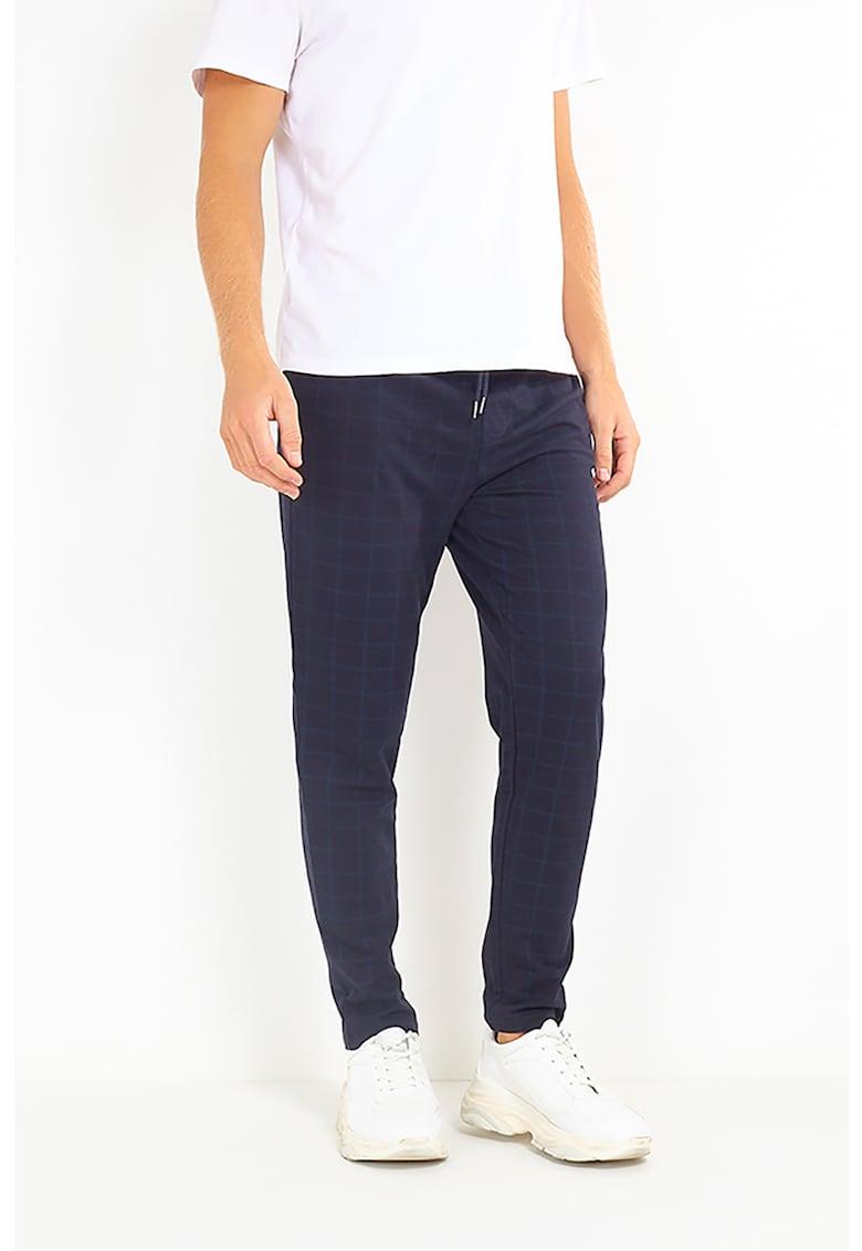 Pantaloni cu imprimeu in carouri si snur Simon poza fashiondays