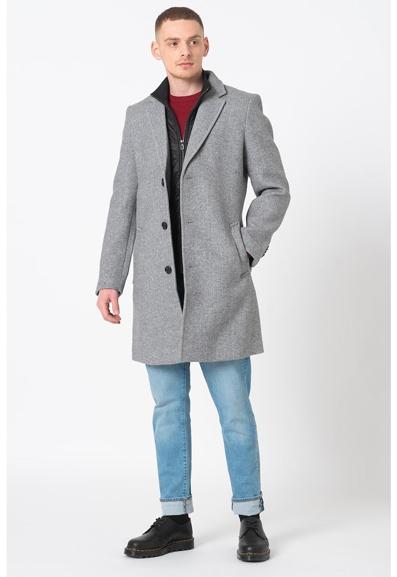 Palton din amestec de lana cu buzunare laterale