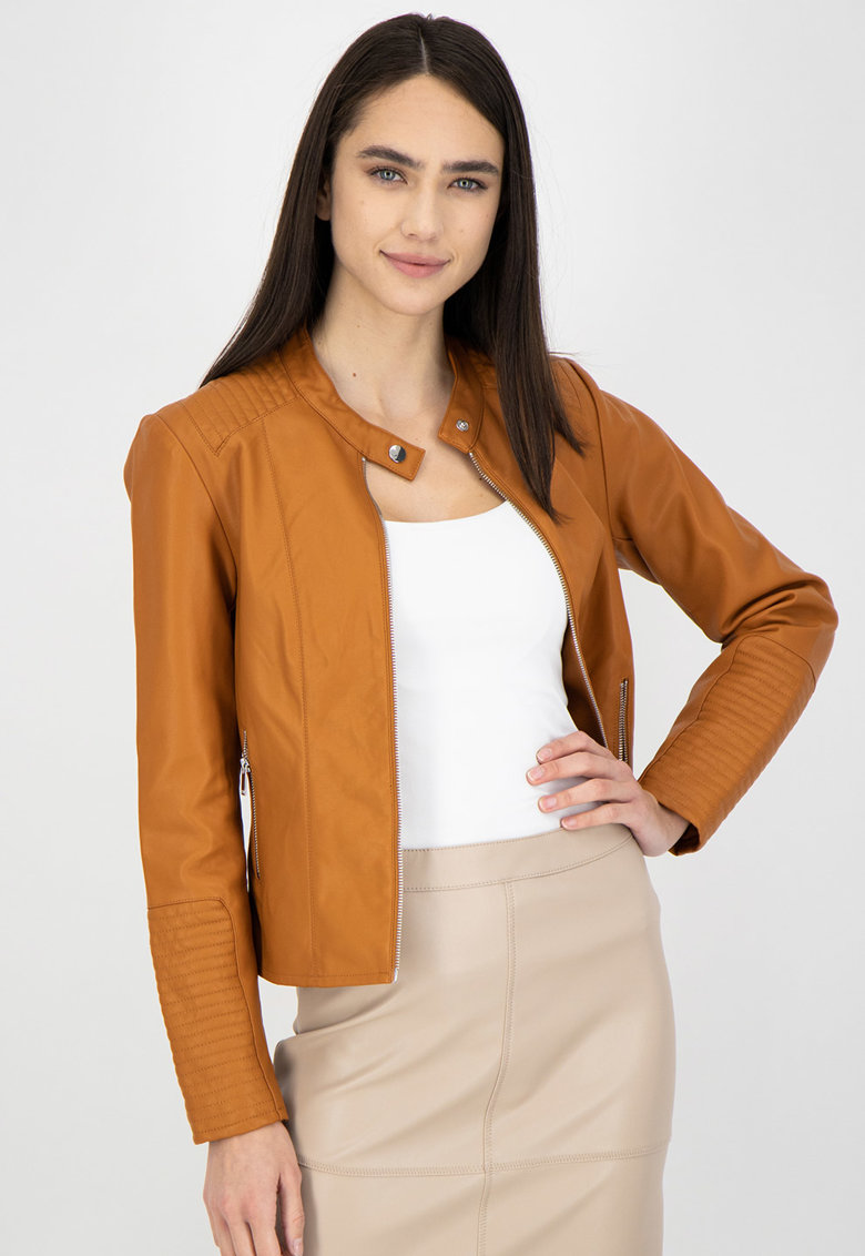 Jacheta de piele ecologica cu buzunare laterale imagine
