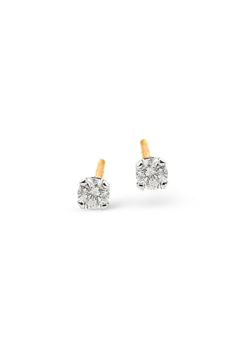 Cercei cu tija din aur de 14K decorati cu diamante poza fashiondays