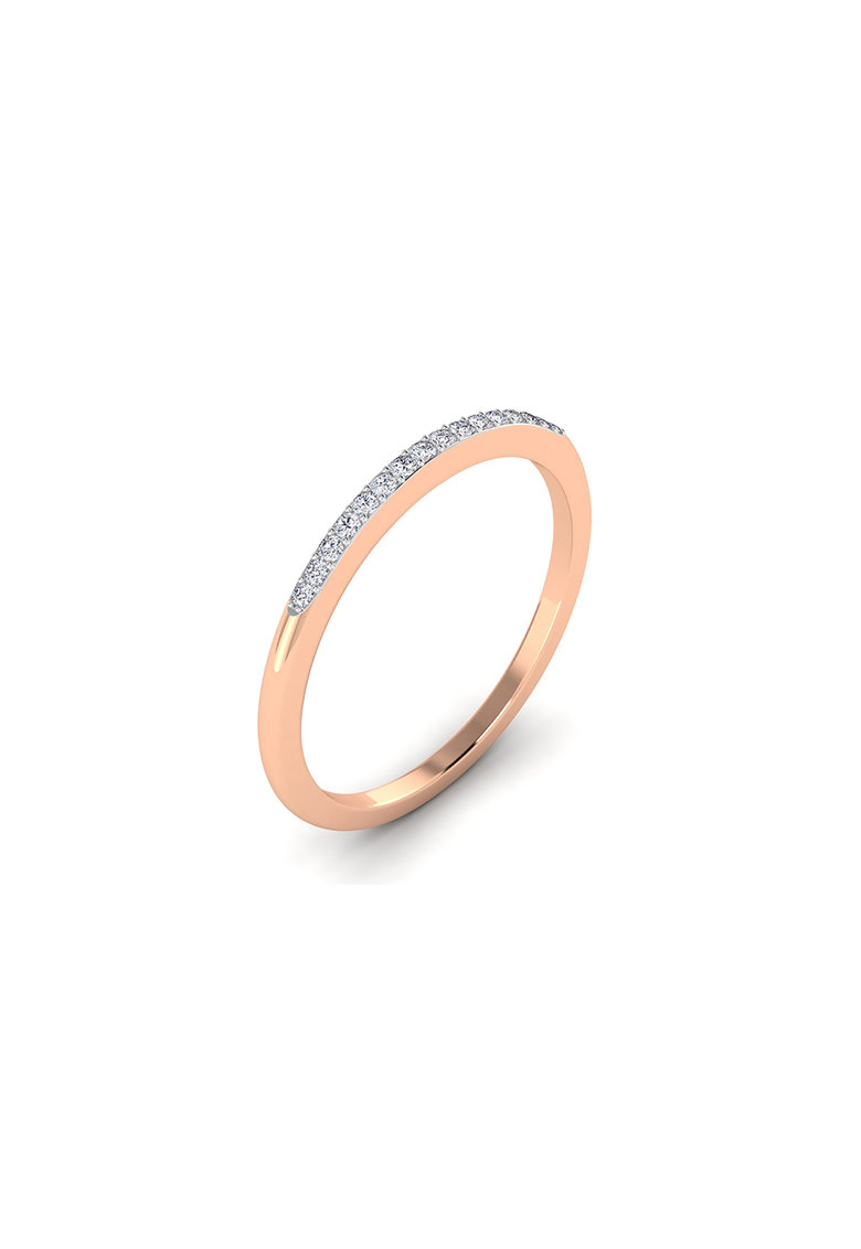 Inel de aur rose de 18K decorat cu diamante