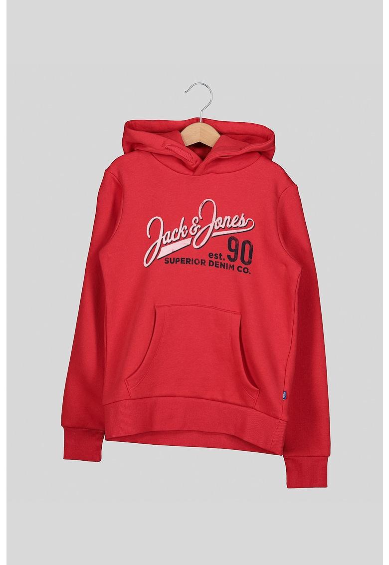 Hanorac cu imprimeu logo si buzunar kangaroo de la JackJones