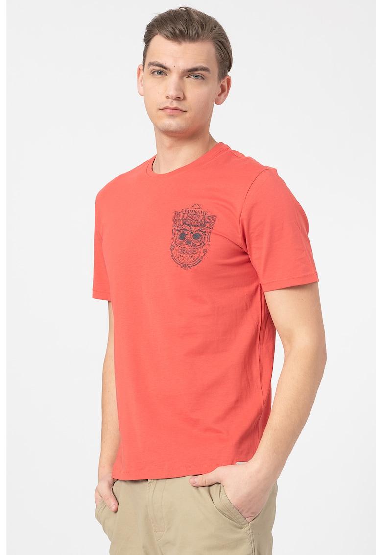 Tricou de bumbac cu decolteu la baza gatului Bărbați imagine
