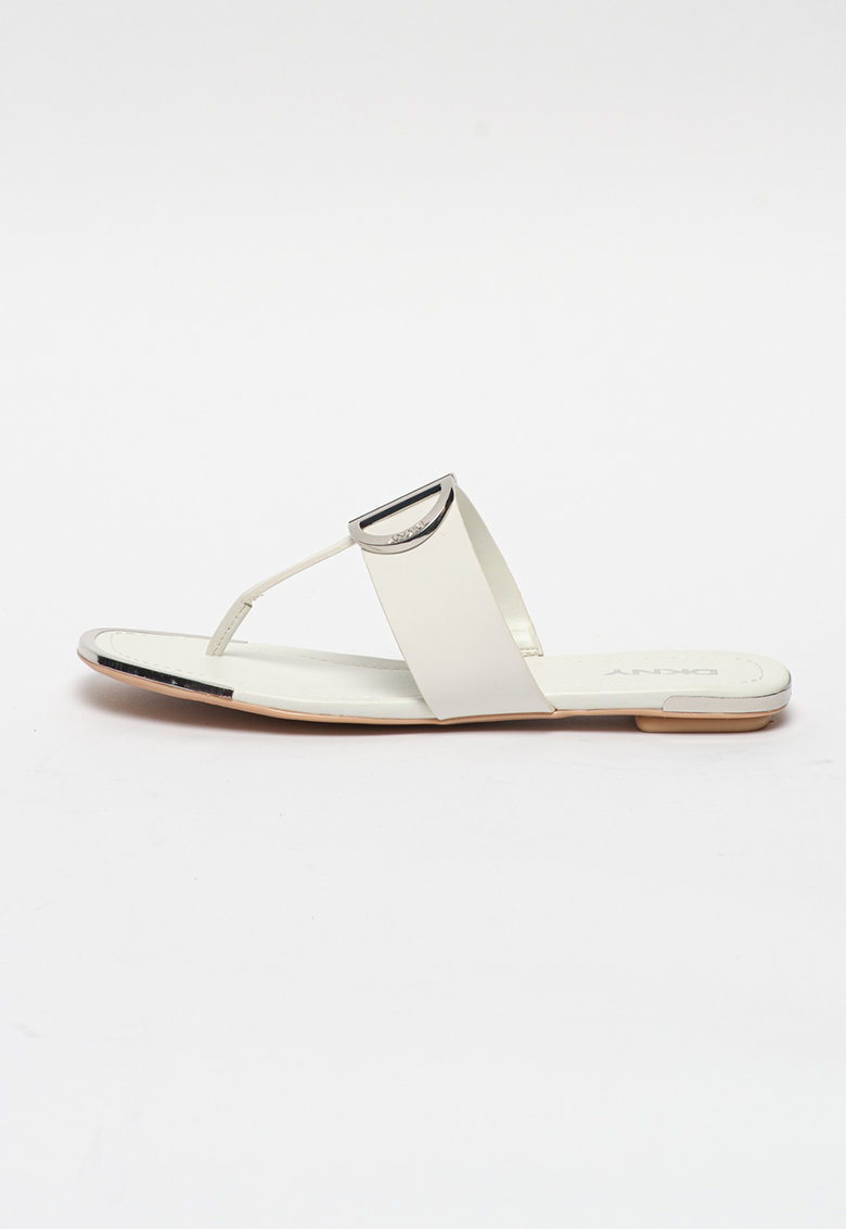 Papuci flip-flop de piele ecologica cu decoratii metalice Halcott