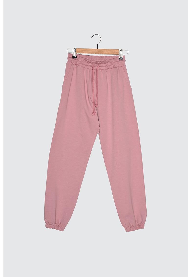 Pantaloni jogger din jerseu cu snur de ajustare in talie