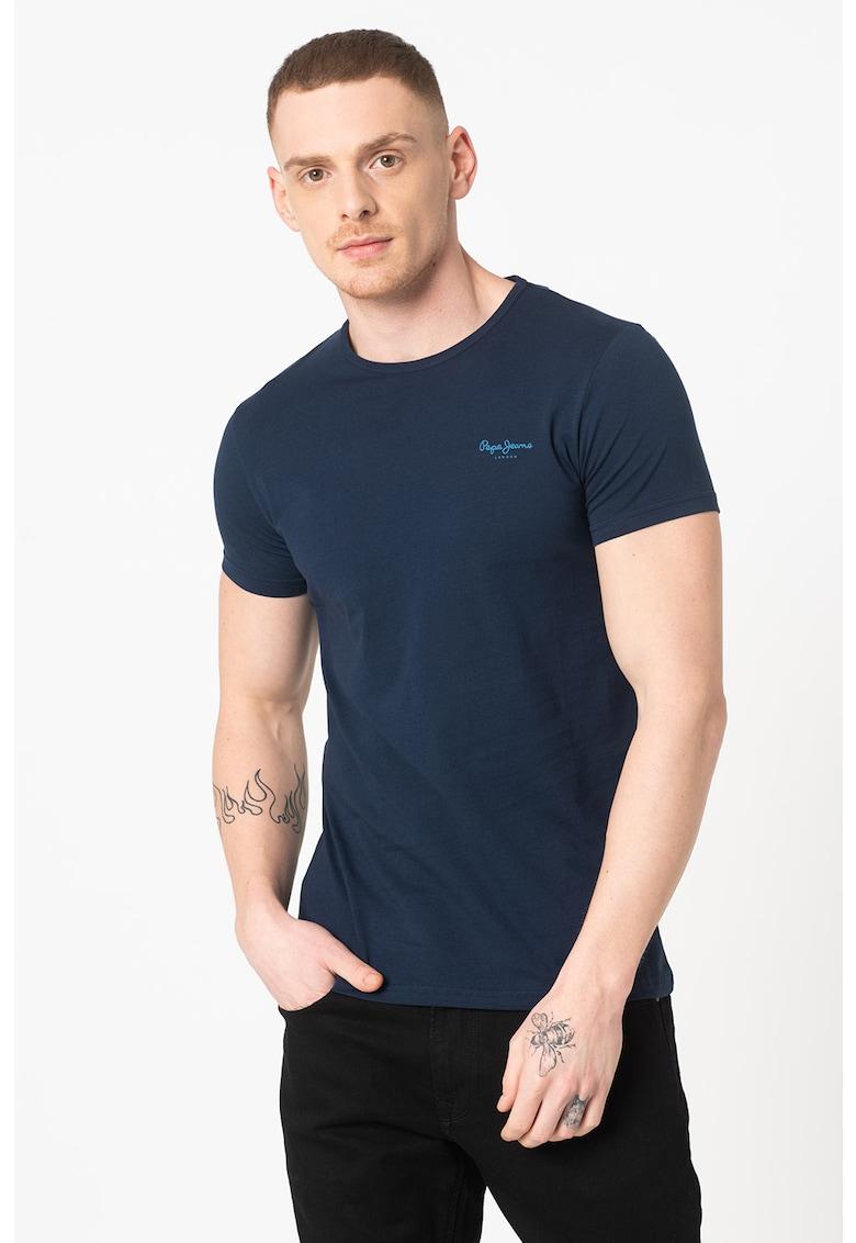Tricou cu decolteu la baza gatului si logo brodat Original Basic Bărbați imagine