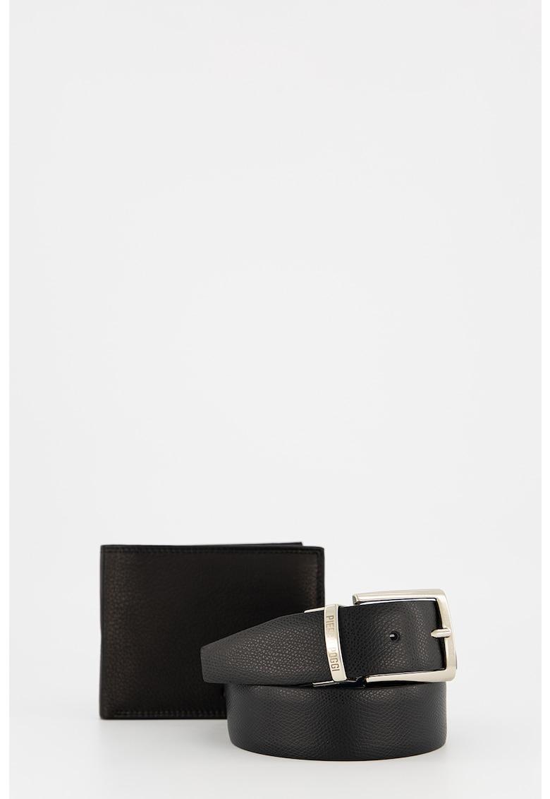 Set de portofel si curea de piele