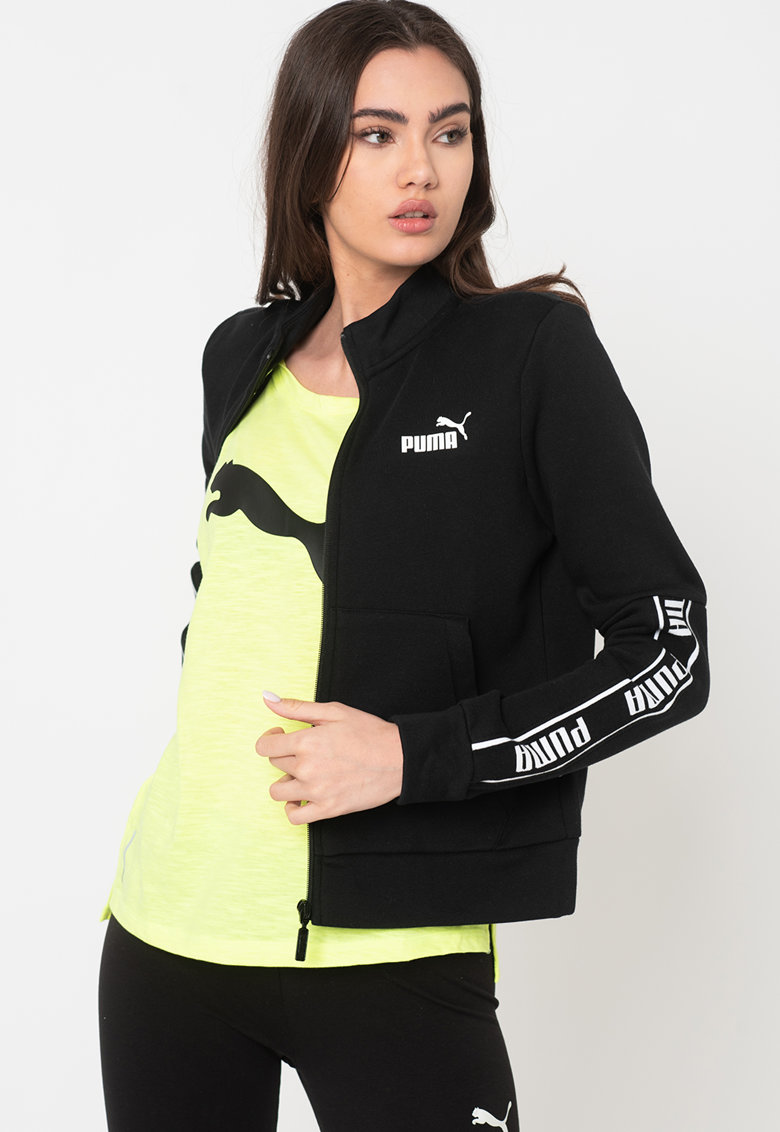 Bluza sport regular fit cu imprimeu logo si fermoar Amplified