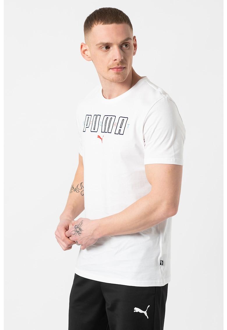 Tricou cu decolteu la baza gatului si imprimeu logo Brand Bărbați imagine
